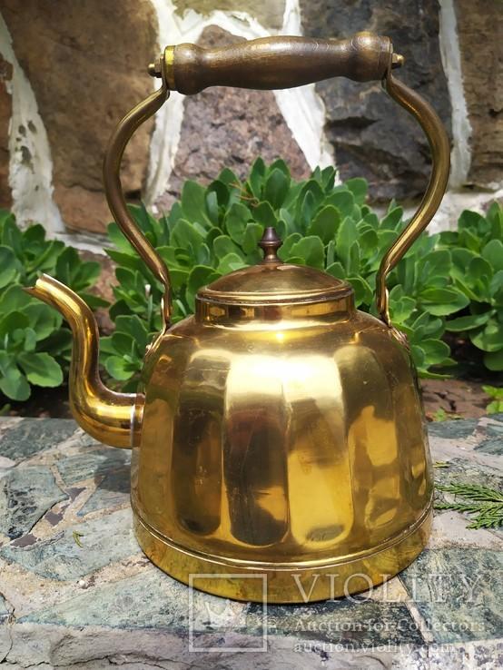 Чайник коллекционный граненый Европа латунь, фото №2