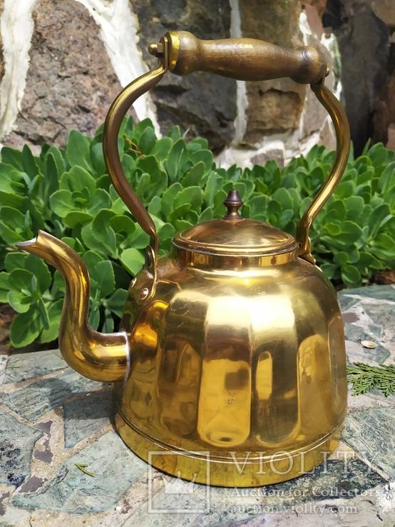 Чайник коллекционный граненый Европа латунь, фото №4