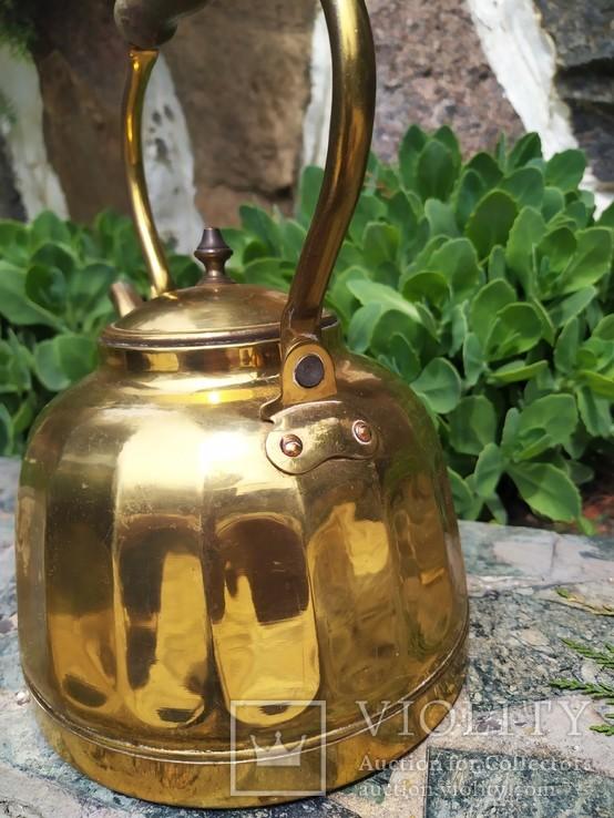 Чайник коллекционный граненый Европа латунь, фото №6