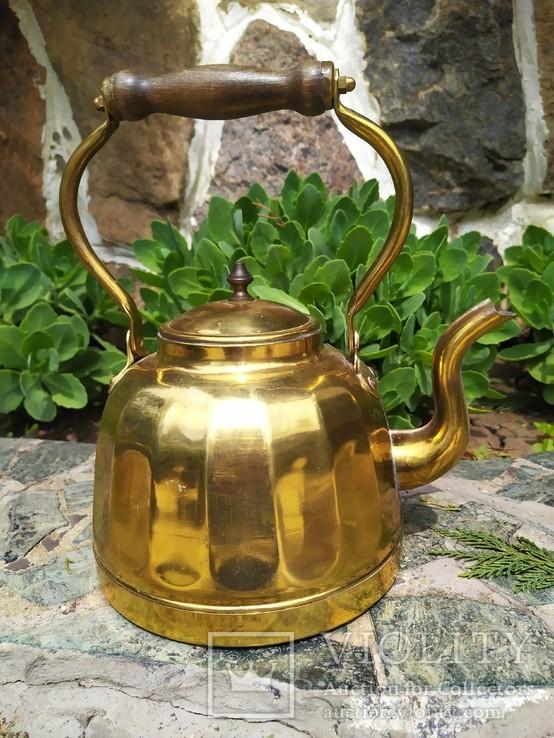 Чайник коллекционный граненый Европа латунь, фото №9