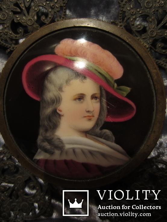 "Портретная миниатюра ""Девушка в шляпе"", живопись на фарфоре, позолота, XIX век, фото №5"