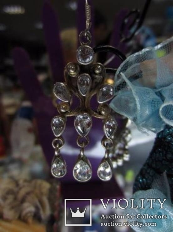 Серьги ''Malgorzata'' с цирконами, серебро 925 проба, Европа, фото №5