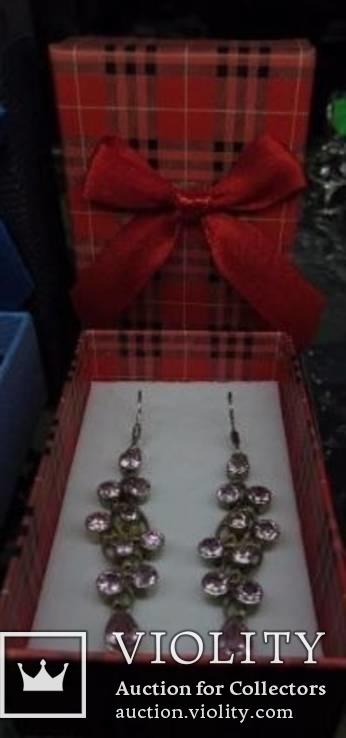 Серьги ''Анжелика'' с розовыми цирконами, серебро 925'',Европа. новые., фото №2