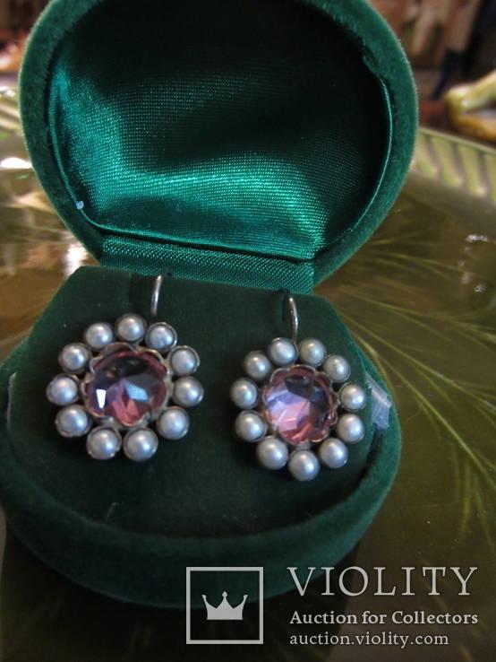 Серьги ''Malgorzata'' с розовыми цирконами и жемчугом, серебро 925'', Европа, фото №2