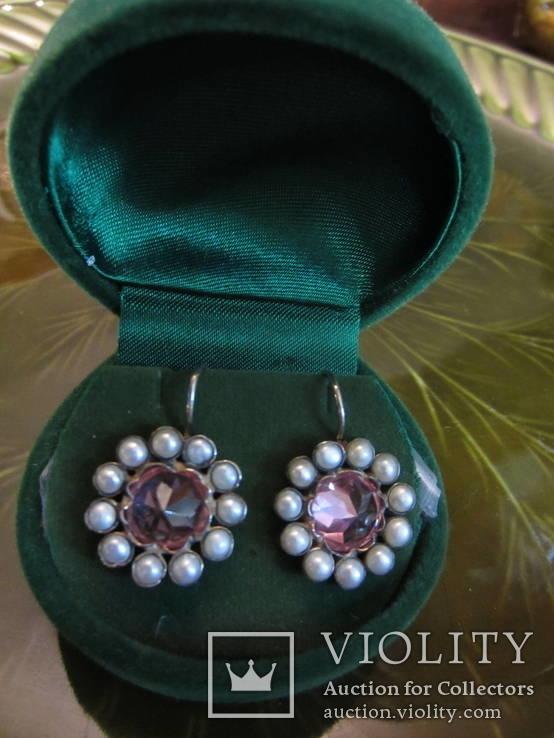 Серьги ''Malgorzata'' с розовыми цирконами и жемчугом, серебро 925'', Европа, фото №4