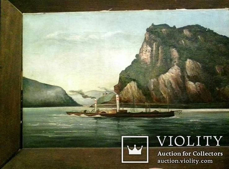 Старинная картина ''Пароход Виктория'', F Lorenz, ХIХ в, Германия. Оригинал., фото №2