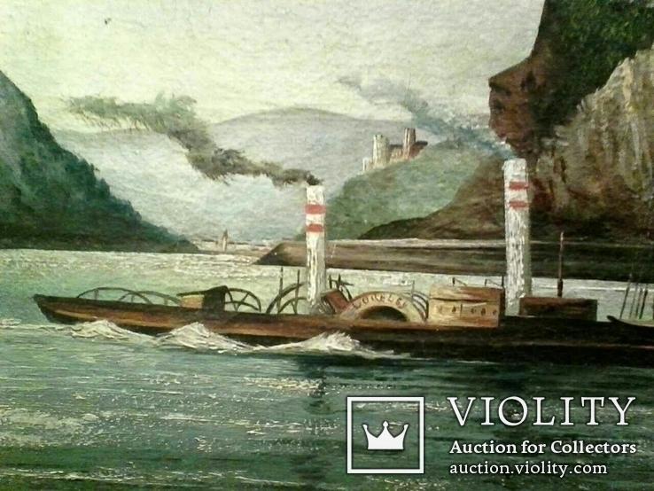 Старинная картина ''Пароход Виктория'', F Lorenz, ХIХ в, Германия. Оригинал., фото №3