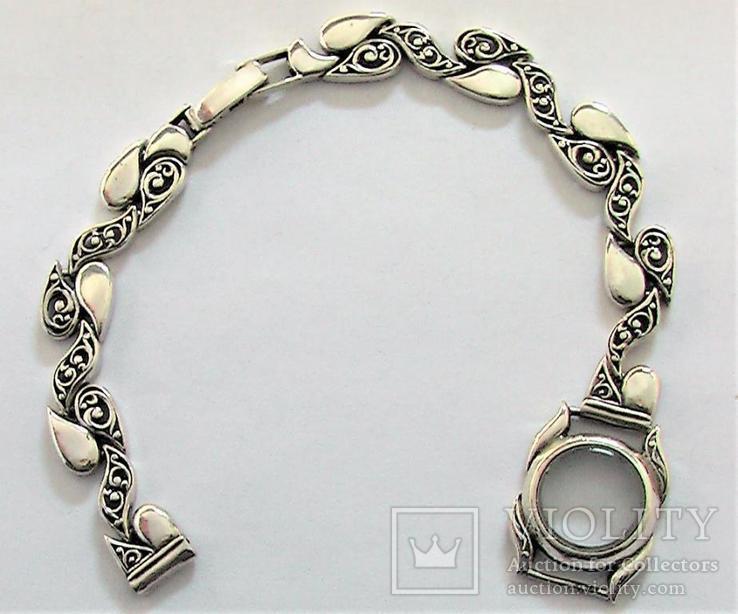 Браслет и корпус от часов серебро 925 проба длина 18 см. 18,62 гр., фото №6