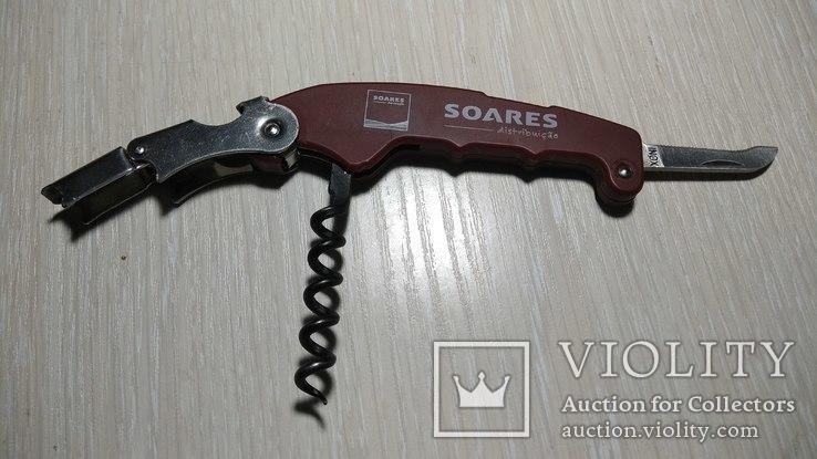 Нож сомелье SOARES, Португалия, штопор, открывашка, фото №2