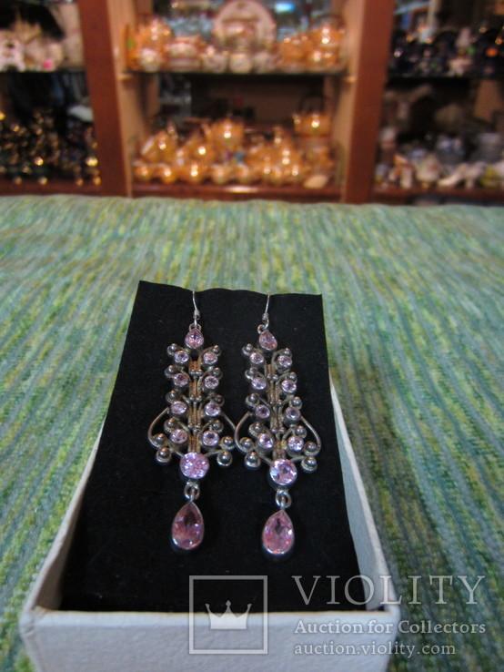 Серьги Анжелика с розовыми цирконами, 925 проба, Германия, фото №2