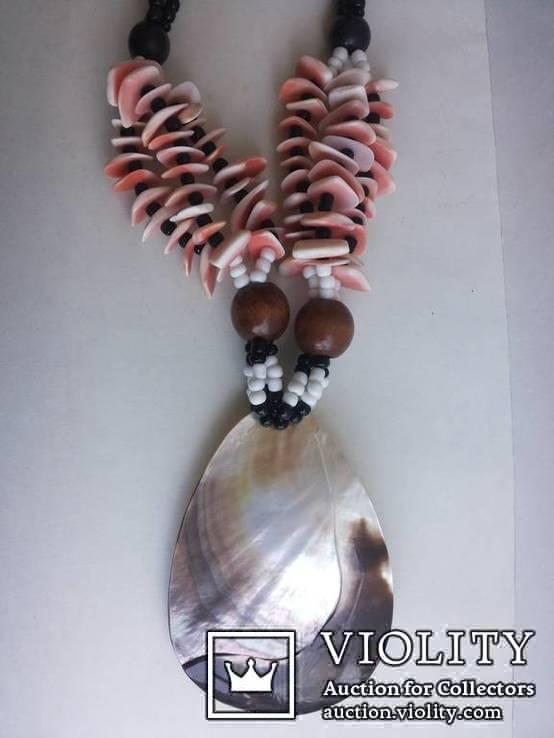 Колье бисер, подвеска перламутр в стиле этно, фото №2