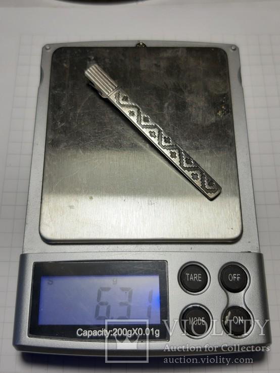 Зажим для галстука серебро 875 пр. Звезда, фото №9