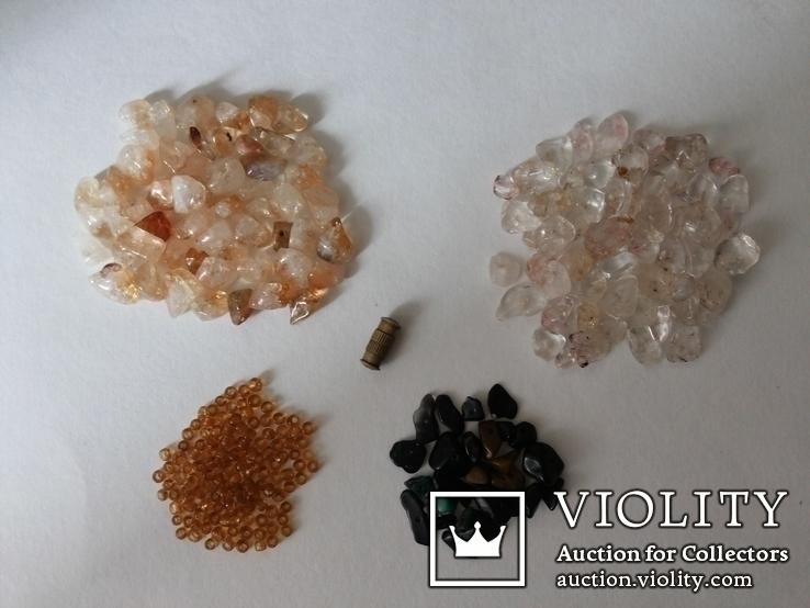 Набор для бус кварц, цитрин, бисер микс, фото №2