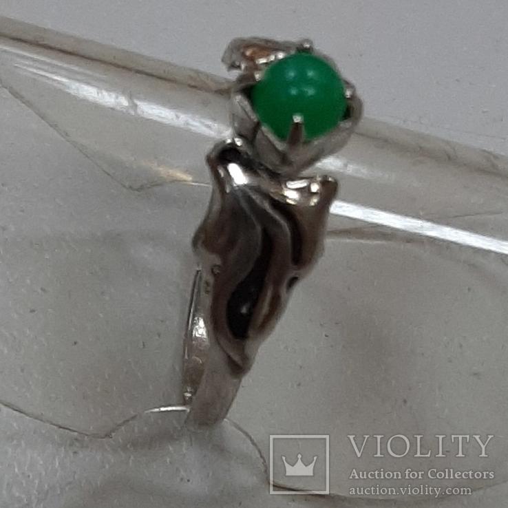 Кольцо с зеленой вставкой.Винтаж, фото №3