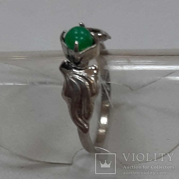 Кольцо с зеленой вставкой.Винтаж, фото №4