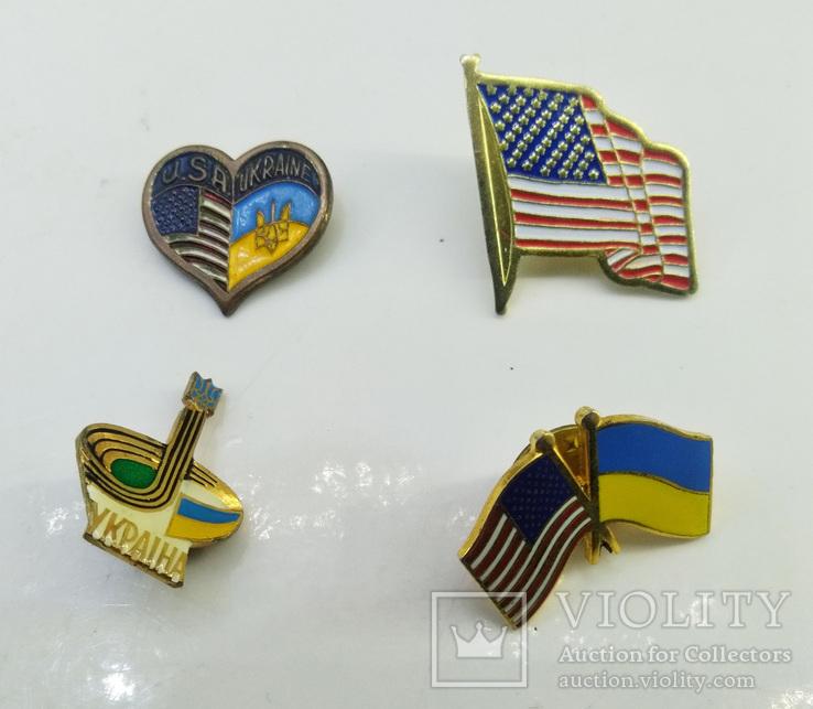 """Значки 4 шт """"Украина - Америка"""", фото №2"""