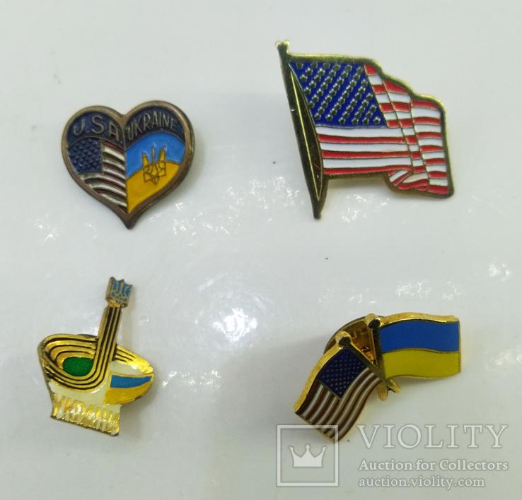 """Значки 4 шт """"Украина - Америка"""", фото №4"""