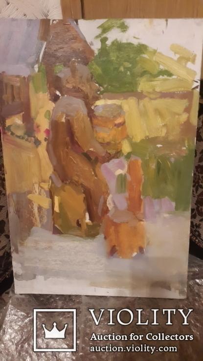 Старая картина медведь на пасеке,картон,масло, фото №2