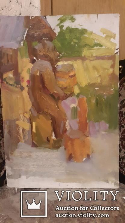 Старая картина медведь на пасеке,картон,масло, фото №3