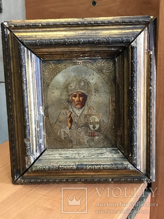 Икона Николай Чудотворец в серебряном окладе