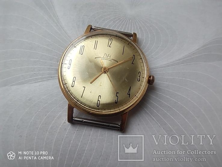 Часы Луч плоские. позолота Au10