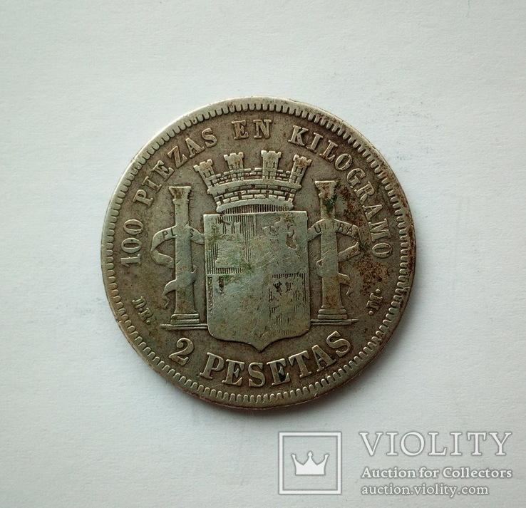 Испания 2 песеты 1870 г., фото №6