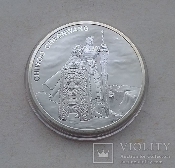 2019 г - 1 клай Южная Корея,Воин Чиву,унция серебра в капсуле, фото №3