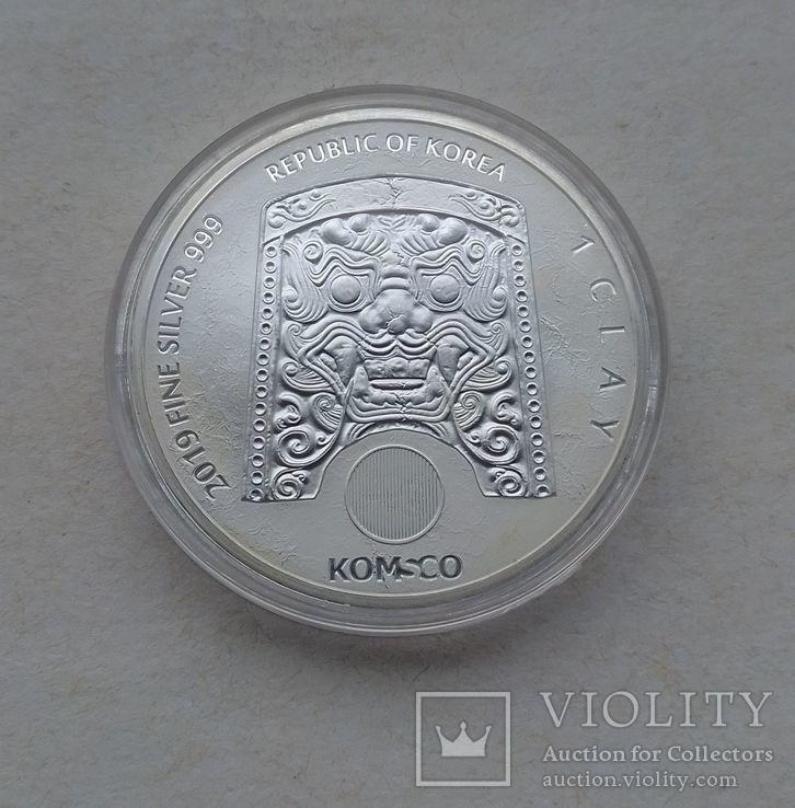 2019 г - 1 клай Южная Корея,Воин Чиву,унция серебра в капсуле, фото №4