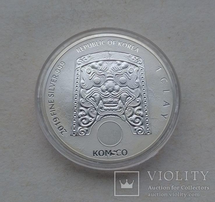 2019 г - 1 клай Южная Корея,Воин Чиву,унция серебра в капсуле, фото №6