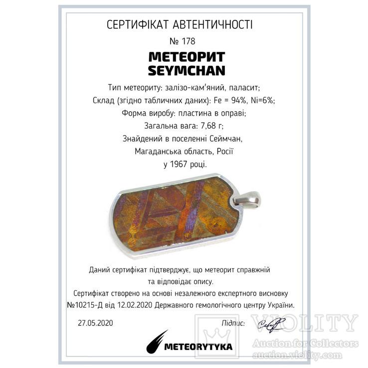 Кулон- жетон з метеоритом Seymchan, з сертифікатом, фото №3