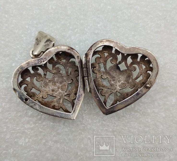 Кулон подвеска серебро 925 сердце, фото №4