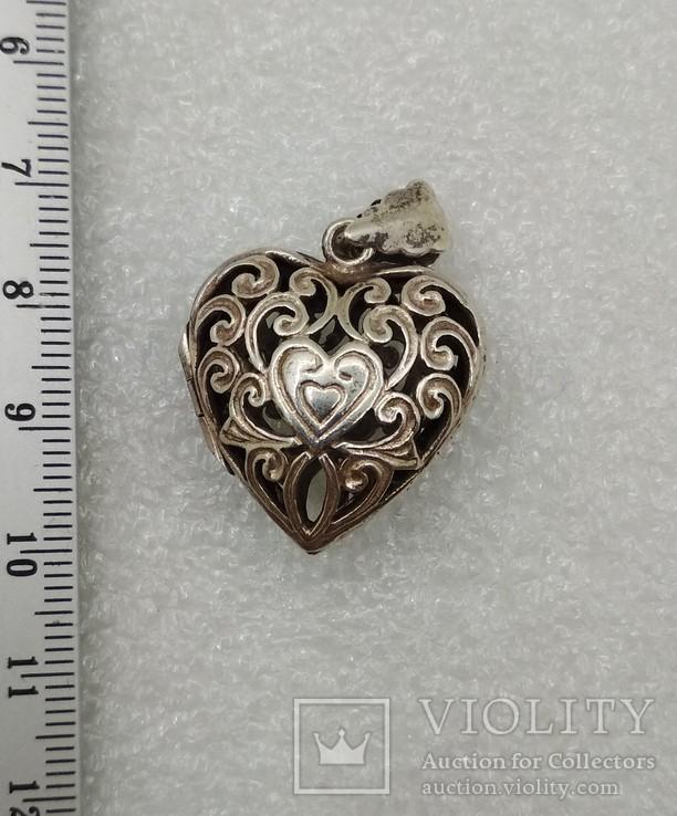 Кулон подвеска серебро 925 сердце, фото №5