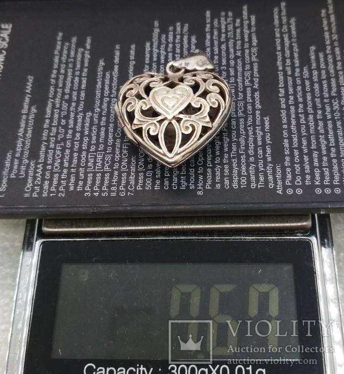 Кулон подвеска серебро 925 сердце, фото №6