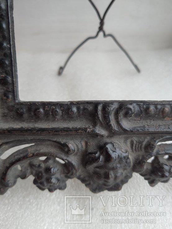 Старинная чугунная рамка под фото конец 19 века, фото №11