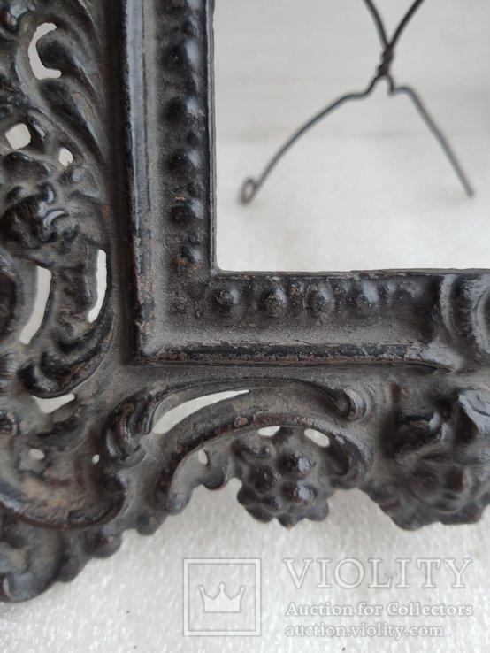 Старинная чугунная рамка под фото конец 19 века, фото №12