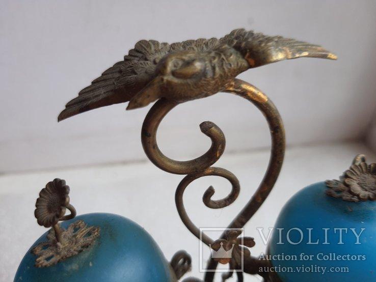 Старинный бронзовый набор для соли и перца, фото №7