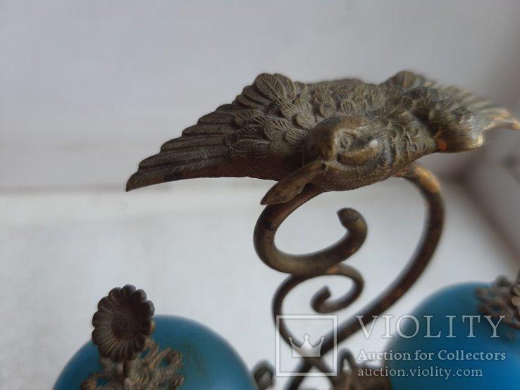 Старинный бронзовый набор для соли и перца, фото №9