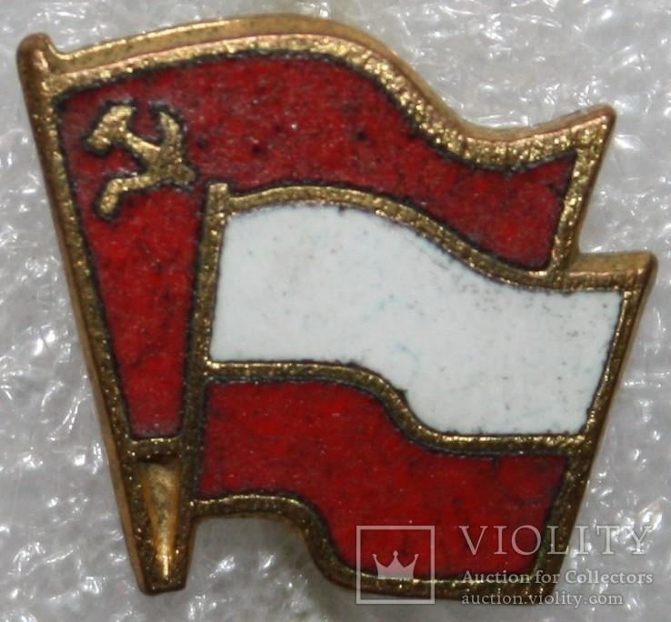 """Значок """"Содружество Польша-СССР"""" (Польша) тяжелый, фото №2"""