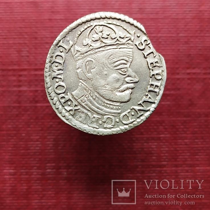 Трояк (3 гроша) 1582 года. Стефан Баторий. Олькуш (R1)