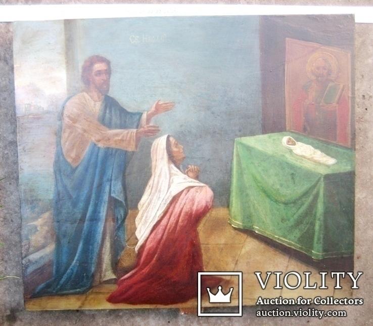 Старовинна ікона - Моління перед іконою Св. Миколая, фото №3