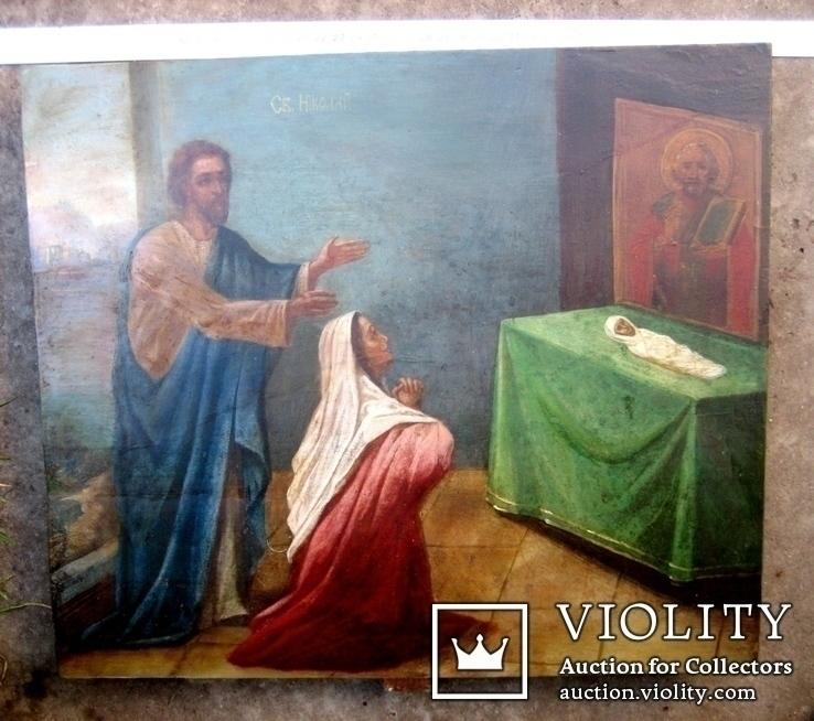 Старовинна ікона - Моління перед іконою Св. Миколая, фото №2