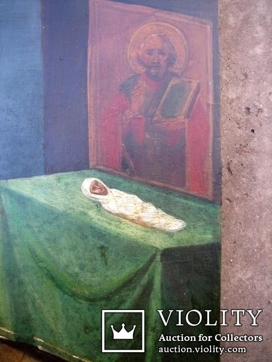 Старовинна ікона - Моління перед іконою Св. Миколая, фото №8