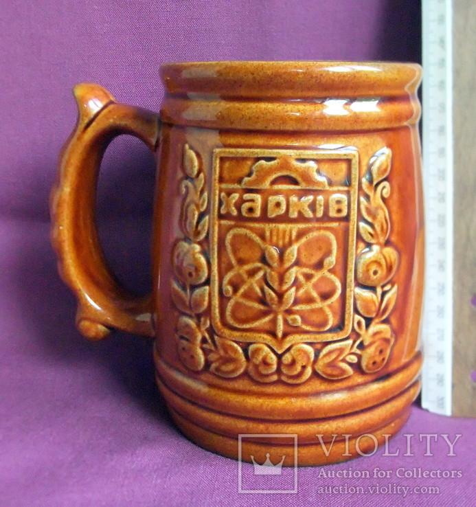 Кружка для пива ХАРКІВ  V - 1 литр. Фаянсовый завод Буды., фото №7