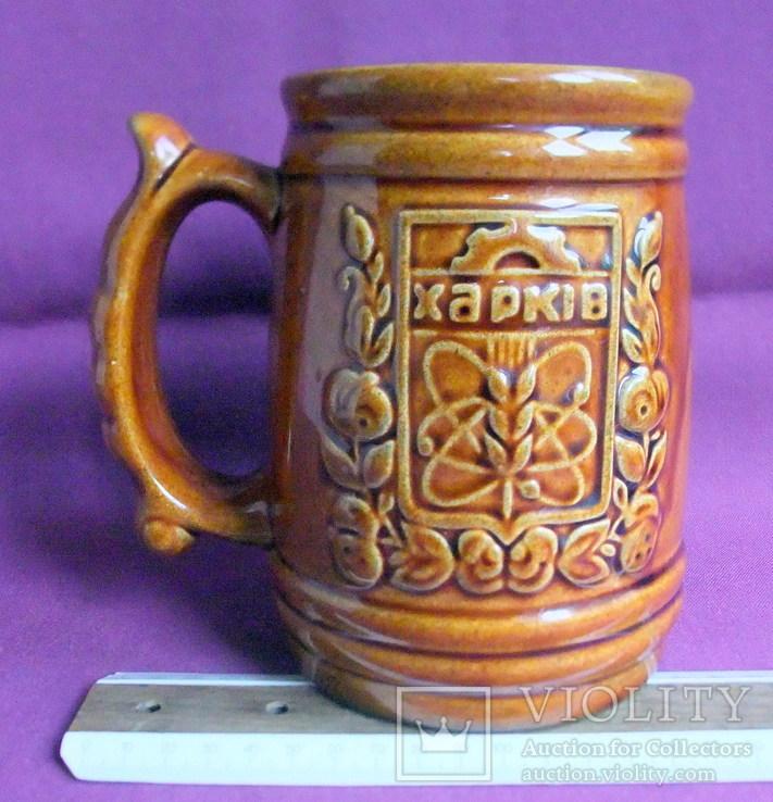 Кружка для пива ХАРКІВ  V - 1 литр. Фаянсовый завод Буды., фото №8