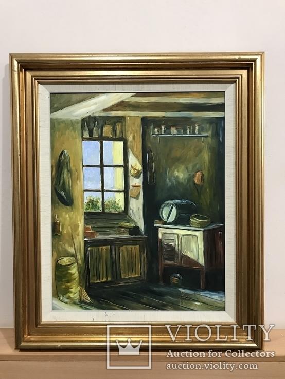 Картина интерьера Det gamle Bryggers, автор Bent Bertram Hillerstrom, год рождения 1935.