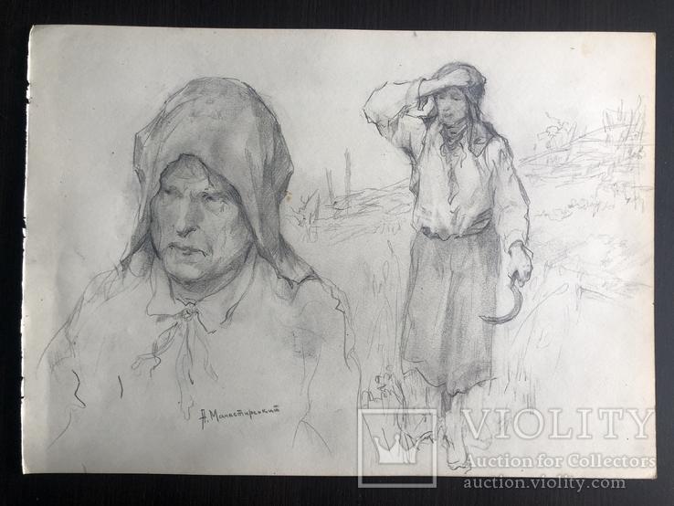 """Антін Іванович Манастирський, малюнок """"З серпом"""", фото №3"""