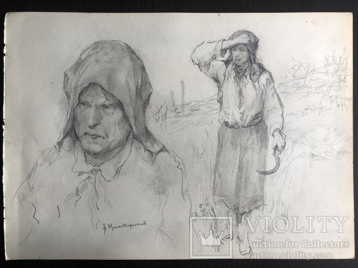 """Антін Іванович Манастирський, малюнок """"З серпом"""", фото №8"""