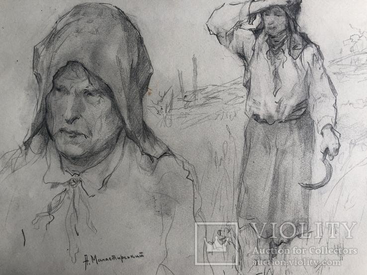 """Антін Іванович Манастирський, малюнок """"З серпом"""", фото №9"""