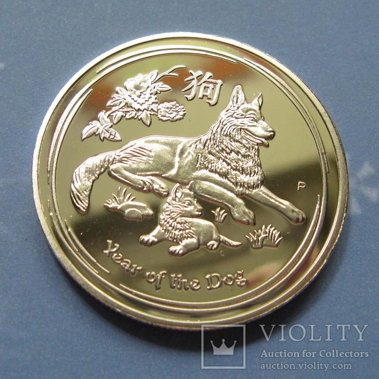 Австралия 1 доллар Proof. Год собаки 2018 год. Копия., фото №4