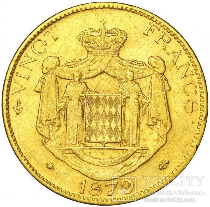 20 Франков 1879, Монако, фото №3